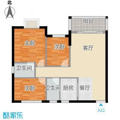 银汇华庭90.93㎡9/11座2-14层01单位户型3室2厅2卫