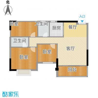 银汇华庭90.74㎡9/11座2-14层04单位户型3室2厅2卫