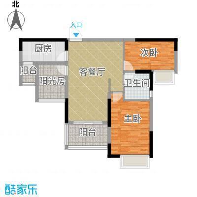 雅居乐御景名门90.00㎡7-9栋03/06单位户型2室1厅1卫1厨