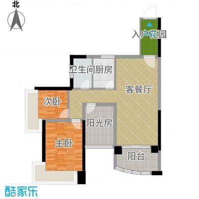 雅居乐御景名门90.00㎡1-5栋01/02单位户型2室1厅1卫1厨