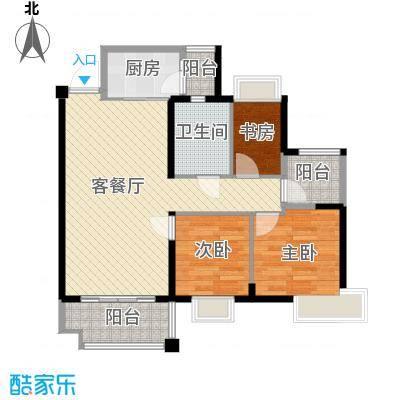 上林苑88.50㎡6栋2座01单位户型3室2厅1卫