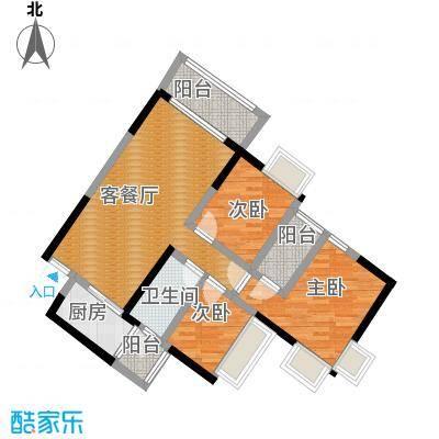 上林苑89.80㎡6栋2座05单位户型3室2厅1卫