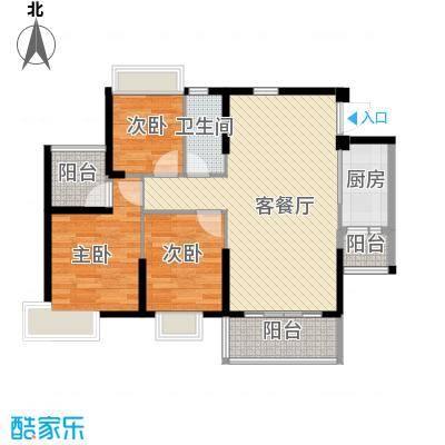 上林苑88.50㎡6栋1座03单位户型3室2厅1卫