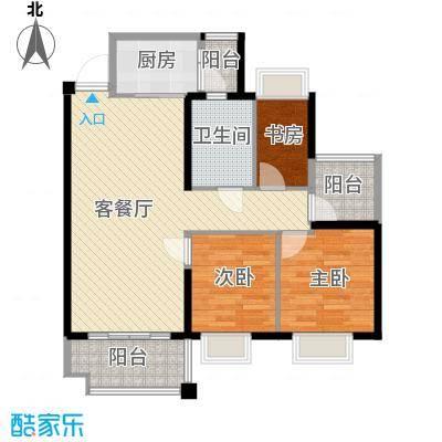 上林苑88.60㎡6栋1座01单位户型3室2厅1卫