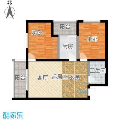 明珠公寓96.57㎡J户型2室1厅1卫户型2室1厅1卫