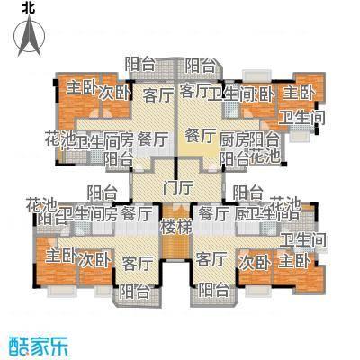 星御名都405.35㎡D栋楼层平面图户型8室4厅6卫4厨