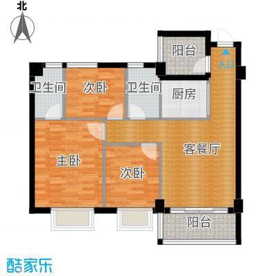 西堤国际花园89.83㎡05/06/07/08座4-9层03单元户型3室1厅2卫1厨