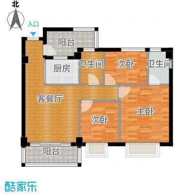 西堤国际花园91.20㎡05/06/07/08座4-9层04单元户型3室1厅2卫1厨