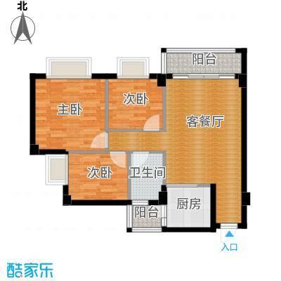西堤国际花园82.66㎡05/06/07/08座4-9层02单元户型3室1厅1卫1厨