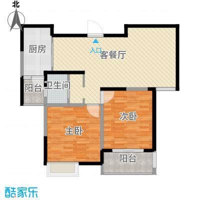 华菁水苑82.00㎡D户型2室2厅1卫