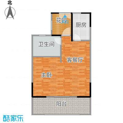 海棠福湾一号74.00㎡公寓B1户型1室1厅1卫
