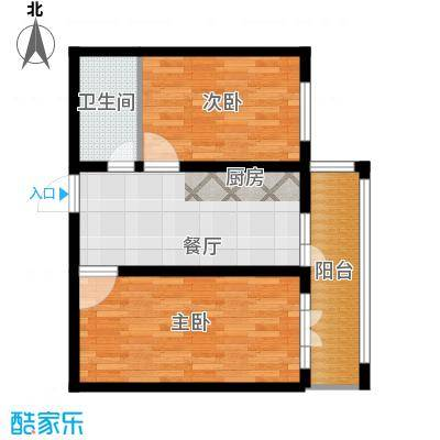 万吉华府78.13㎡2号楼1单元3号2室户型2室1厅1卫