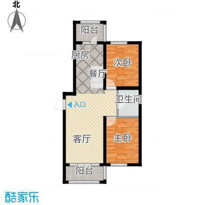 万吉华府93.07㎡1号楼1单元1号/1号楼3单元3号2室户型2室1厅1卫
