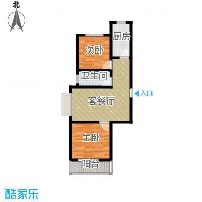 天洲沁园94.83㎡13号楼D户型2室2厅1卫