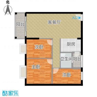 东汇家园91.00㎡9栋01单元户型3室1厅1卫