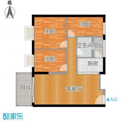 东汇家园88.00㎡9栋02单元户型3室1厅1卫1厨