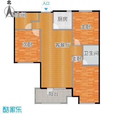 国赫红珊湾114.82㎡B户型3室2厅2卫