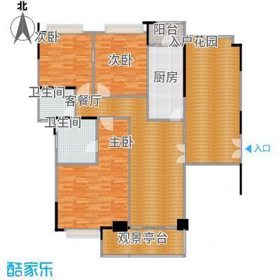 金宇锦园109.00㎡雍景台/御景台2-24层双数层B户型3室1厅2卫1厨