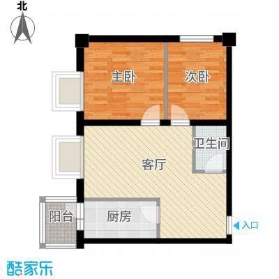 泰山领秀49.45㎡户型2室1厅1卫1厨
