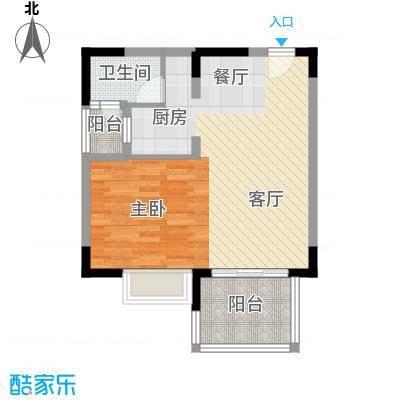 金色年华海景小区66.15㎡户型1室2厅1卫