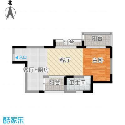 金色年华海景小区65.24㎡户型1室2厅1卫