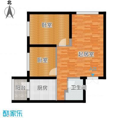 柏悦星城90.77㎡5#1单元3门两室户型2室2厅1卫