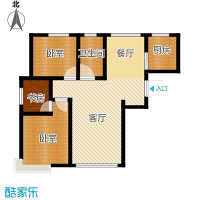 恒盛皇家花园77.97㎡D1户型2室1厅1卫