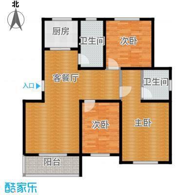 翠语棠城110.00㎡E户型3室1厅2卫1厨