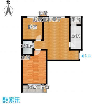 珠峰国际花园三期92.63㎡27号楼-02-2户型1室1卫1厨