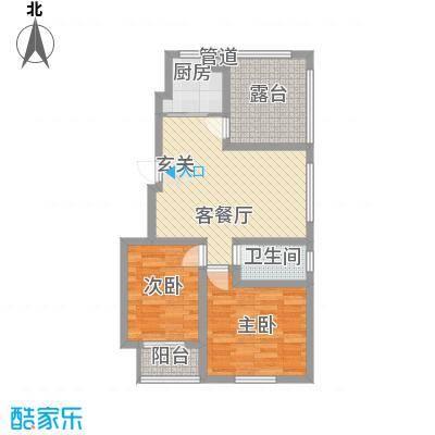泰和名都户型图1#C1户型 2室2厅1卫1厨