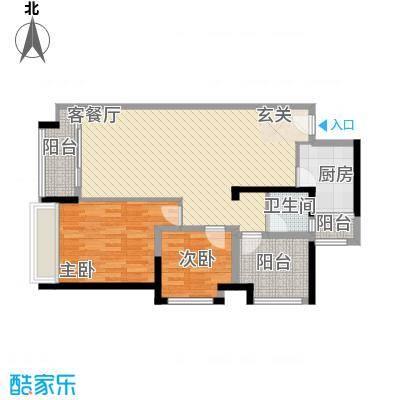 宏发上域户型图3栋A座02户型 2室2厅1卫1厨