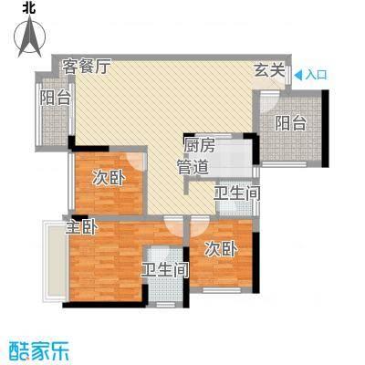 宏发上域户型图3栋B座02户型 2室2厅2卫1厨