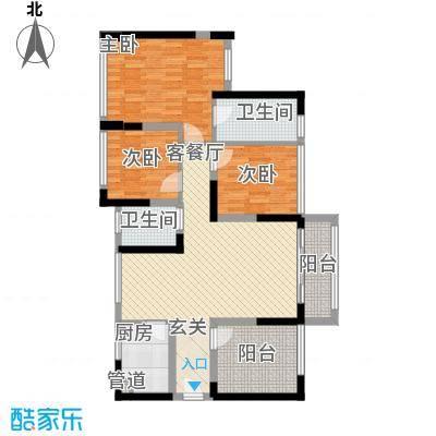 宏发上域户型图3栋B座06户型 2室2厅2卫1厨