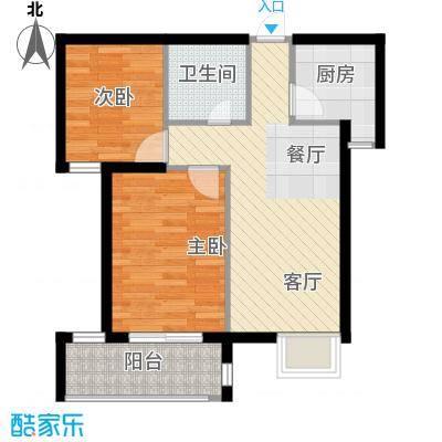 上东名筑54.92㎡户型2室1厅1卫1厨