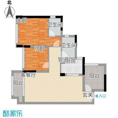 宏发上域户型图3栋B座03户型 2室2厅2卫1厨