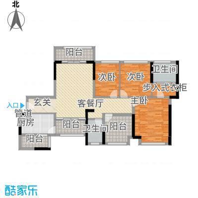 宏发上域户型图5栋01、07户型 3室2厅2卫1厨