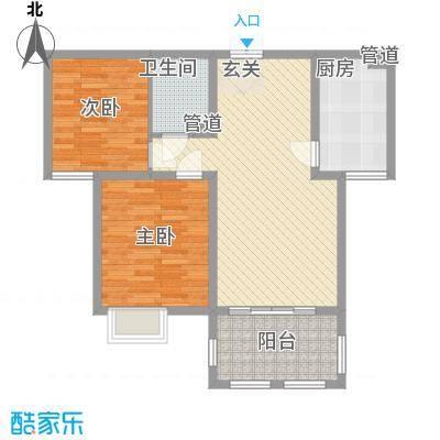 金湖国际87.35㎡金湖国际户型图1#楼A3户型2室2厅1卫1厨户型2室2厅1卫1厨