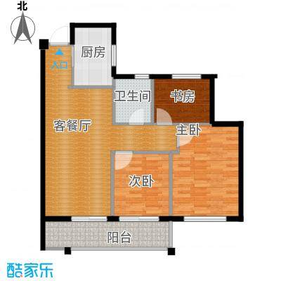 曙光之城89.00㎡滨江E3户型3室1厅1卫1厨