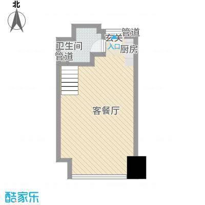 亚太广场二期50.00㎡亚太广场二期户型图LOFT居住型B平面布置图1室1卫1厨户型1室1卫1厨