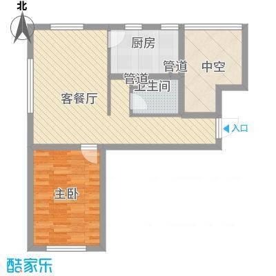 首创光和城户型图E户型图 1室2厅1卫