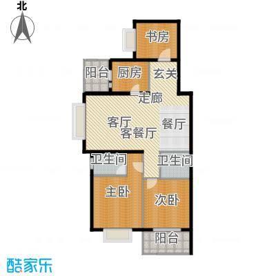 上海香溢花城户型图A户型127㎡3房 3室2厅2卫1厨
