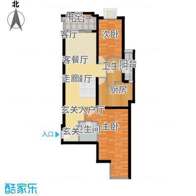 上海香溢花城户型图9#B户型 2室2厅2卫1厨