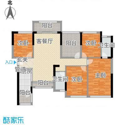 宏发上域户型图3栋B座01户型 3室2厅2卫1厨