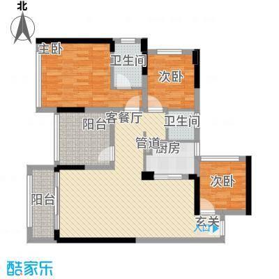 宏发上域户型图3栋B座05户型 2室2厅2卫1厨