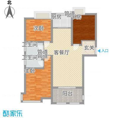 金湖国际121.47㎡金湖国际户型图1#楼A2户型3室2厅2卫1厨户型3室2厅2卫1厨