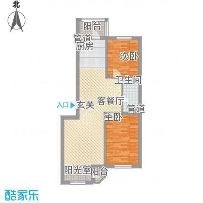 亚泰国际花园户型图3 2室2厅1卫1厨