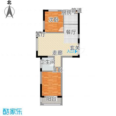 澳海澜庭75.00㎡澳海澜庭户型图75平米E户型2室2厅1卫户型2室2厅1卫