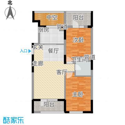 澳海澜庭85.00㎡澳海澜庭户型图85平米E户型2室2厅1卫户型2室2厅1卫