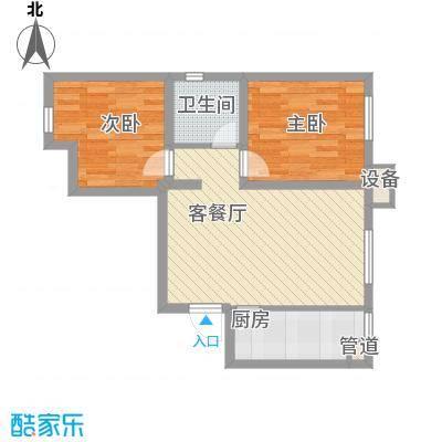 金地名京72.00㎡金地名京户型图D户型2室2厅1卫户型2室2厅1卫