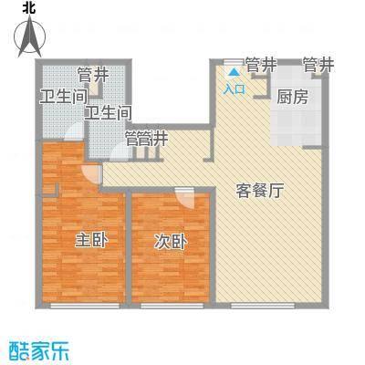 新地国际公寓苏寓136.00㎡新地国际公寓苏寓户型图5#H03户型2室2厅2卫1厨户型2室2厅2卫1厨